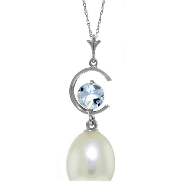 Genuine 4.5 ctw Pearl & Aquamarine Necklace 14KT White Gold - REF-21W9Y