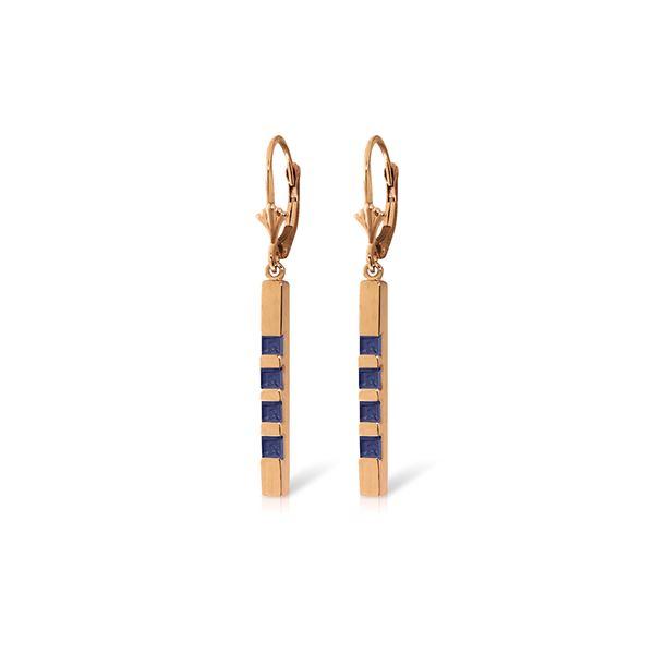 Genuine 0.70 ctw Sapphire Earrings 14KT Rose Gold - REF-56H9X