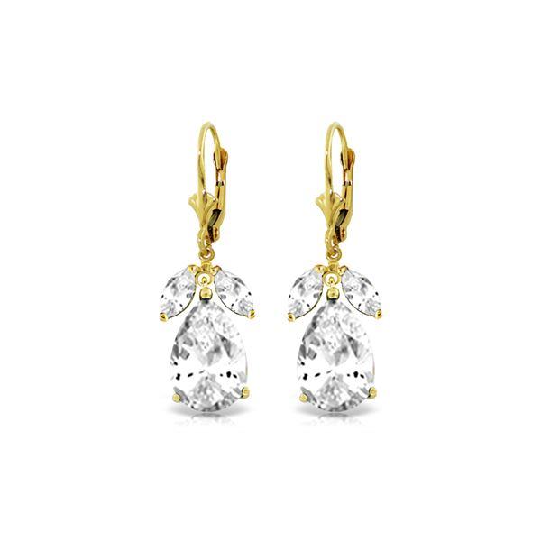 Genuine 13 ctw White Topaz Earrings 14KT Yellow Gold - REF-61T2A