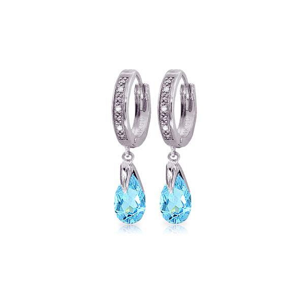 Genuine 2.53 ctw Blue Topaz & Diamond Earrings 14KT White Gold - REF-58P2H