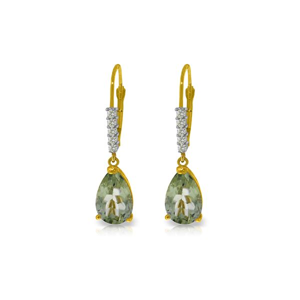 Genuine 3.15 ctw Green Amethyst & Diamond Earrings 14KT Yellow Gold - REF-44P3H