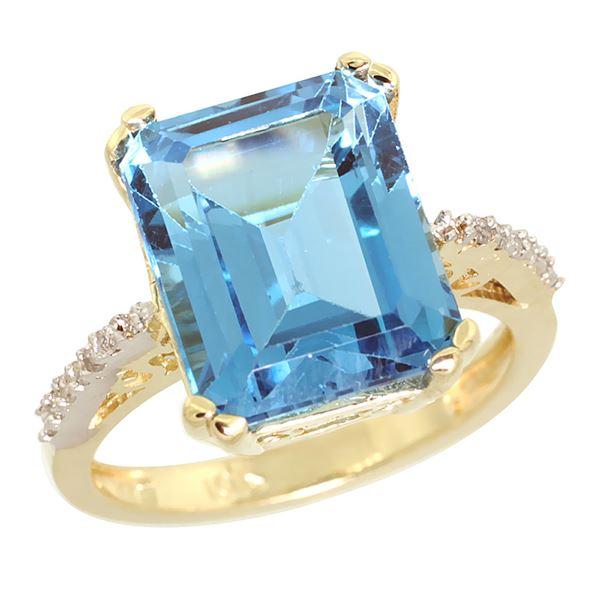 5.52 CTW Swiss Blue Topaz & Diamond Ring 14K Yellow Gold - REF-56Y5V