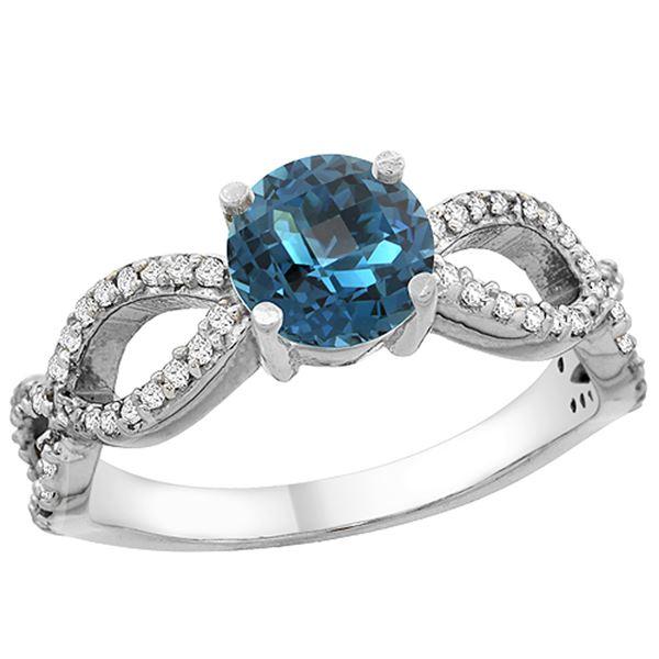 1.25 CTW London Blue Topaz & Diamond Ring 14K White Gold - REF-50V2R