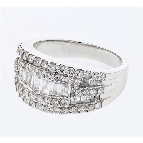 Natural 1.53 CTW Diamond & Baguette Ring 18K White Gold - REF-223F2M