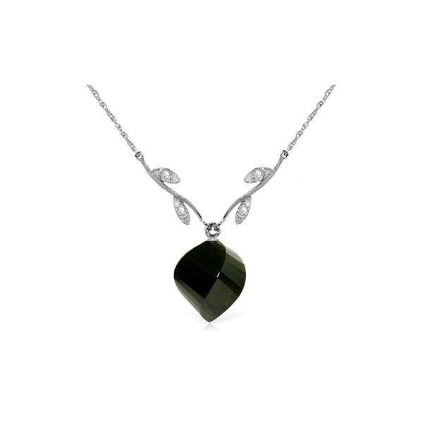 Genuine 15.52 ctw Black Spinel & Diamond Necklace 14KT White Gold - REF-36F9Z