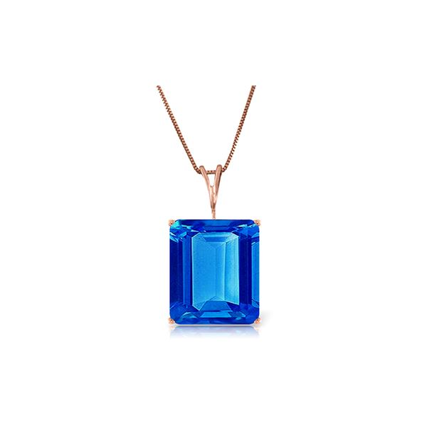 Genuine 7 ctw Blue Topaz Necklace 14KT Rose Gold - REF-35W9Y