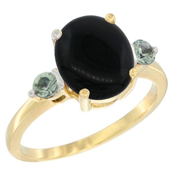 1.79 CTW Onyx & Green Sapphire Ring 14K Yellow Gold - REF-30R3H