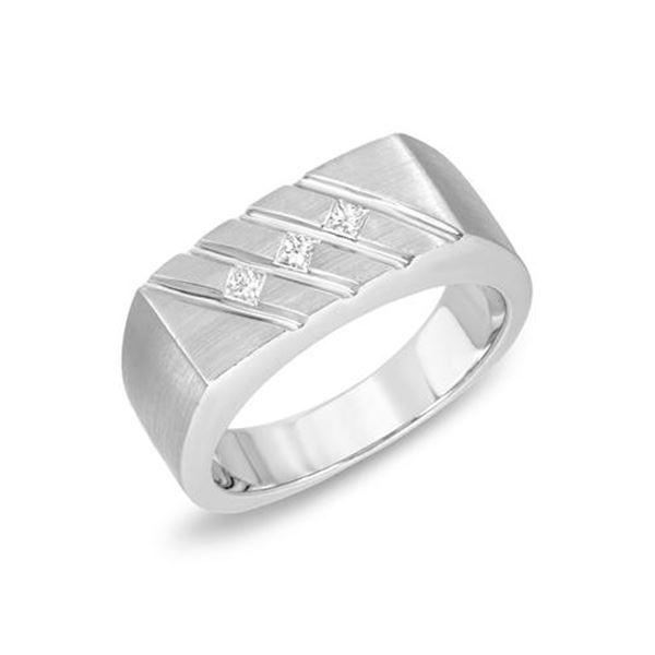 Natural 0.18 CTW Princess Diamond Ring 14K White Gold - REF-98N3Y