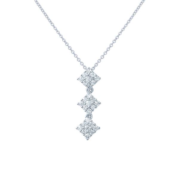 Natural 0.43 CTW Diamond Necklace 18K White Gold - REF-65W7H