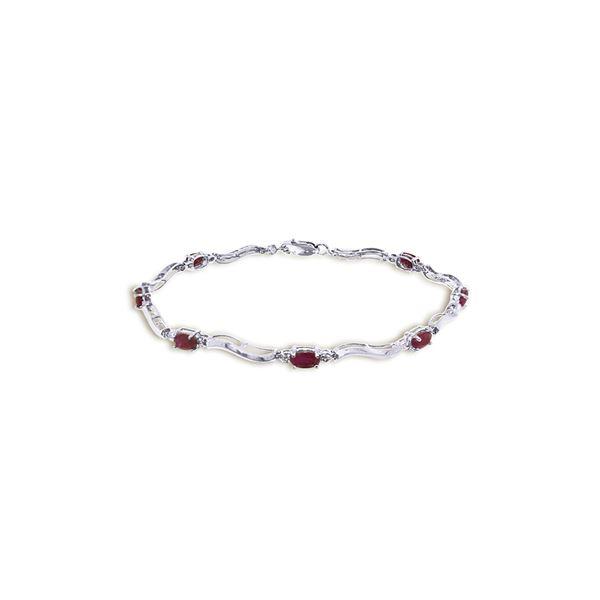 Genuine 2.01 ctw Ruby & Diamond Bracelet 14KT White Gold - REF-82R3P
