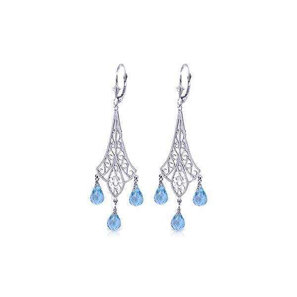 Genuine 4.8 ctw Blue Topaz Earrings 14KT White Gold - REF-56K9V