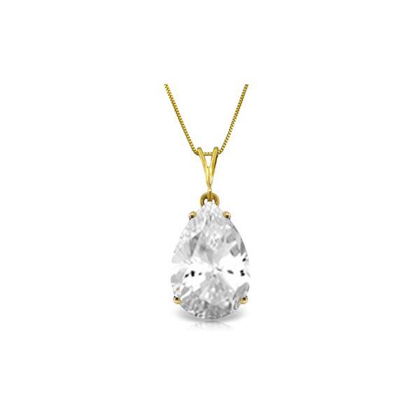 Genuine 5 ctw White Topaz Necklace 14KT Yellow Gold - REF-30X3M