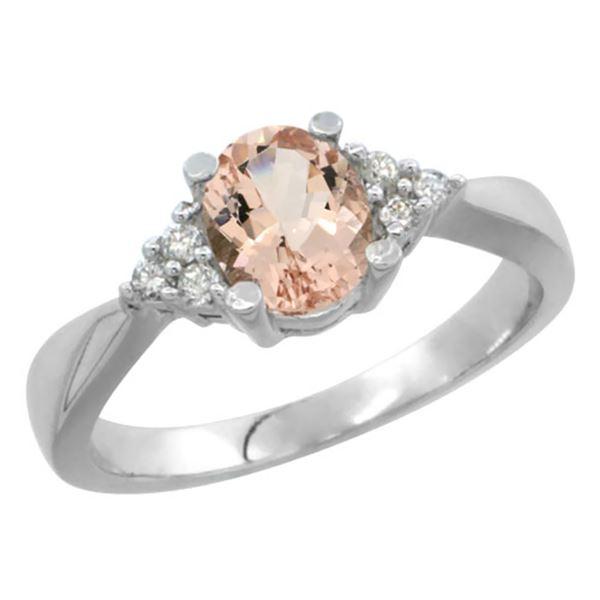 0.73 CTW Morganite & Diamond Ring 14K White Gold - REF-39A5X