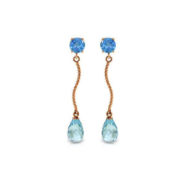 Genuine 4.3 ctw Blue Topaz Earrings 14KT Rose Gold - REF-23X5M