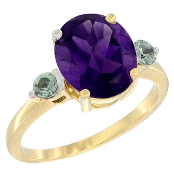 2.64 CTW Amethyst & Green Sapphire Ring 14K Yellow Gold - REF-32R3H