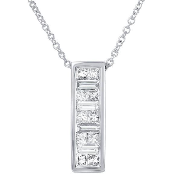 Natural 0.50 CTW Princess Diamond & Baguette Necklace 14K White Gold - REF-67K5R
