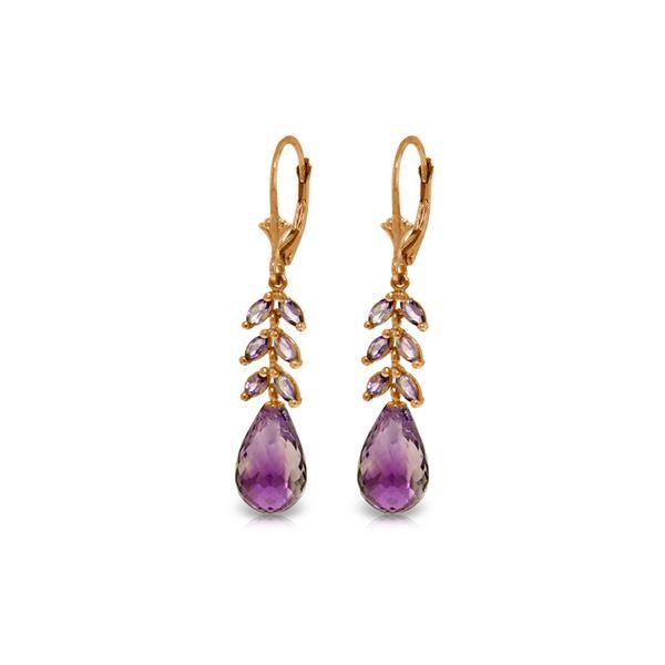 Genuine 11.20 ctw Amethyst Earrings 14KT Rose Gold - REF-56A2K