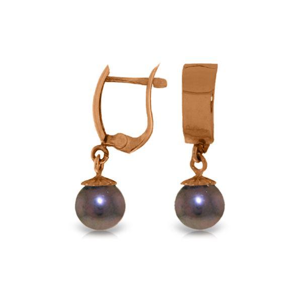 Genuine 4 ctw Black Pearl Earrings 14KT Rose Gold - REF-21V2W