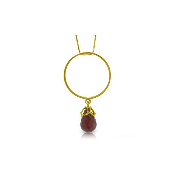 Genuine 3 ctw Garnet Necklace 14KT Yellow Gold - REF-24W4Y