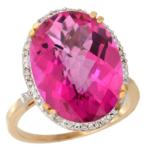 13.71 CTW Pink Topaz & Diamond Ring 10K Yellow Gold - REF-57F6N