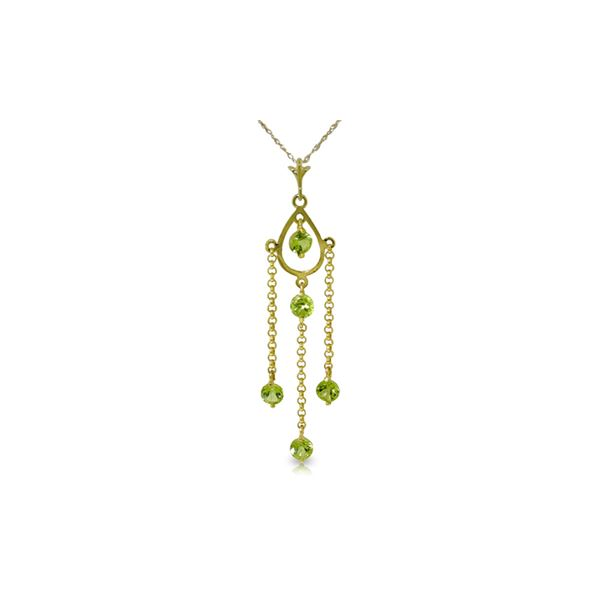 Genuine 1.50 ctw Peridot Necklace 14KT Yellow Gold - REF-29H7X