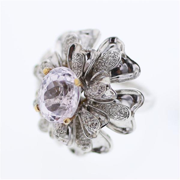 Natural 5.79 CTW Kunzite & Diamond Ring 18K Two Tone Yellow Gold - REF-251K3R