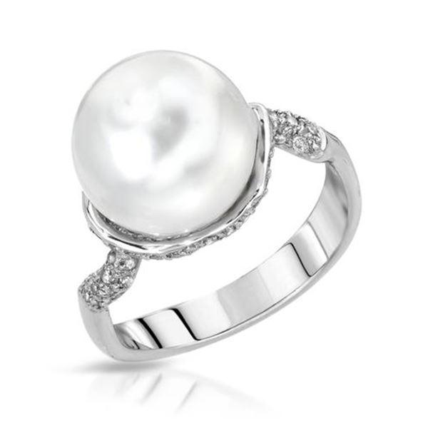 Natural 10.50 CTW Pearl & Diamond Ring 14K White Gold - REF-62K3R