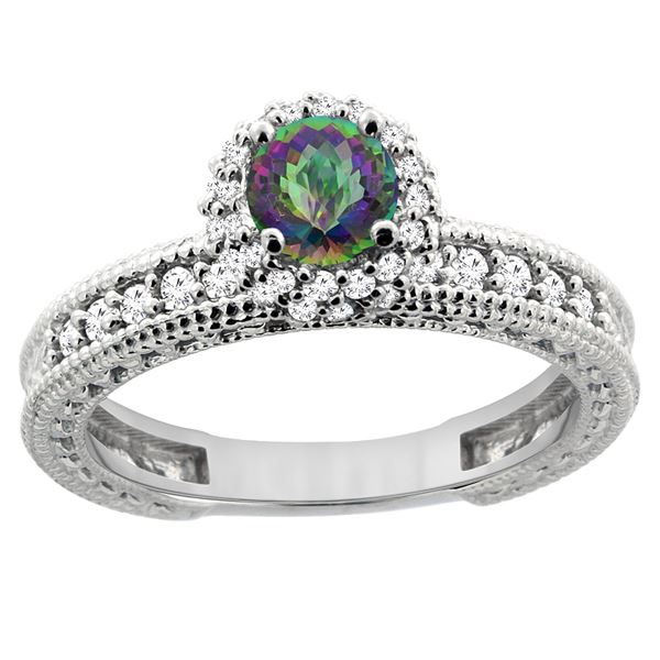 0.91 CTW Mystic Topaz & Diamond Ring 14K White Gold - REF-65H9M