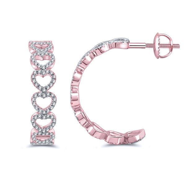 Natural 0.28 CTW Diamond Earrings 14K Rose Gold - REF-34W2H