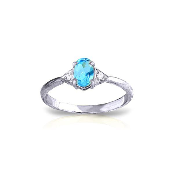 Genuine 0.46 ctw Blue Topaz & Diamond Ring 14KT White Gold - REF-22V5W