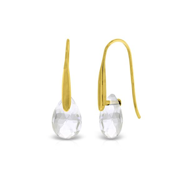 Genuine 6 ctw White Topaz Earrings 14KT Yellow Gold - REF-38T5A