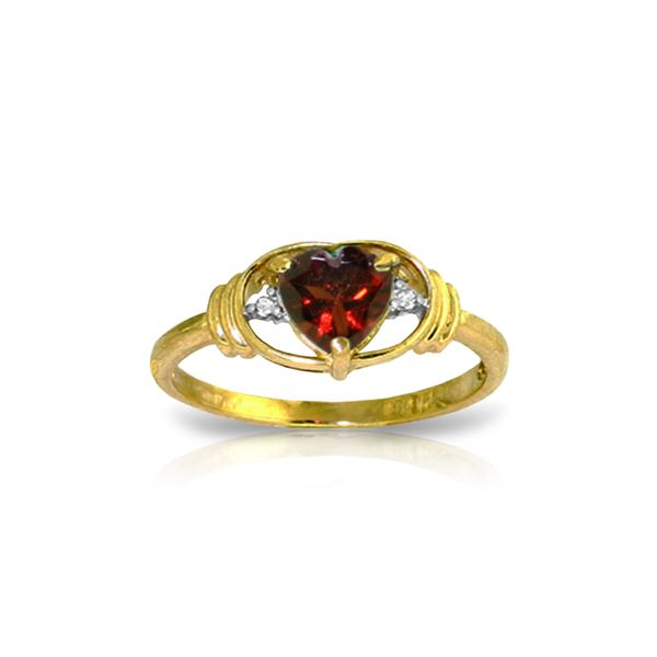 Genuine 0.96 ctw Garnet & Diamond Ring 14KT Yellow Gold - REF-40K3V