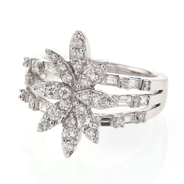 Natural 0.99 CTW Diamond & Baguette Ring 18K White Gold - REF-161K3R