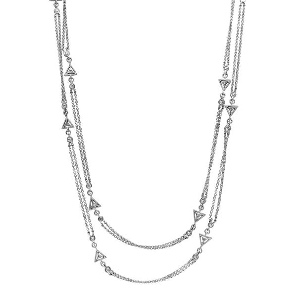Natural 0.94 CTW Diamond Necklace 14K White Gold - REF-134W3H