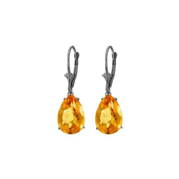 Genuine 10 ctw Citrine Earrings 14KT White Gold - REF-45T3A