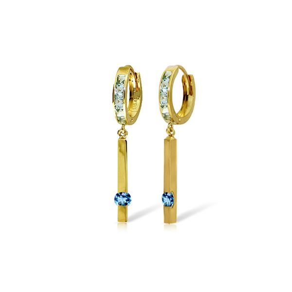 Genuine 1.35 ctw Blue Topaz Earrings 14KT Yellow Gold - REF-66F2Z