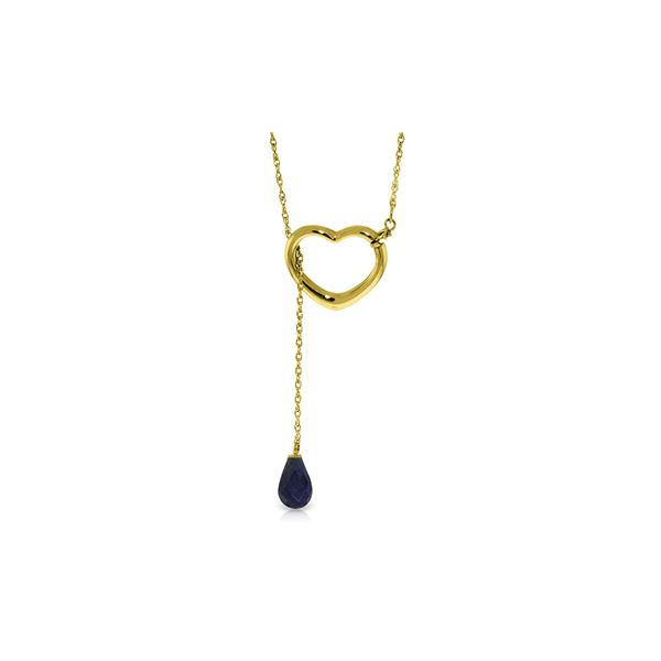 Genuine 3.3 ctw Sapphire Necklace 14KT Yellow Gold - REF-37F4Z