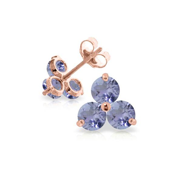 Genuine 1.50 ctw Tanzanite Earrings 14KT Rose Gold - REF-25P4H