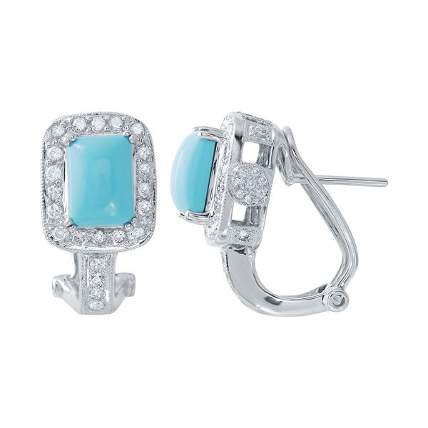 Natural 3.29 CTW Turquoise & Diamond Earrings 14K White Gold - REF-104N4Y