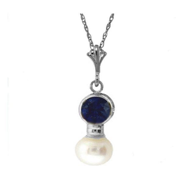 Genuine 2.48 ctw Sapphire & Pearl Necklace 14KT White Gold - REF-20R4P