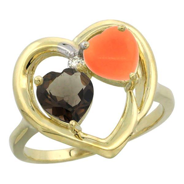 1.31 CTW Quartz & Diamond Ring 10K Yellow Gold - REF-23H5M
