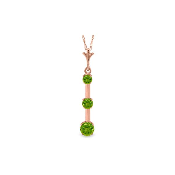 Genuine 1.25 ctw Peridot Necklace 14KT Rose Gold - REF-29M3T