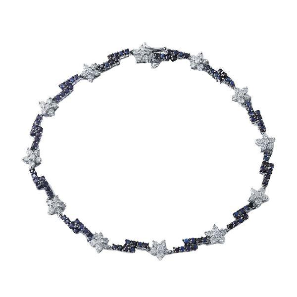 Natural 2.35 CTW Sapphire & Diamond Bracelet 14K White Gold - REF-99N2Y