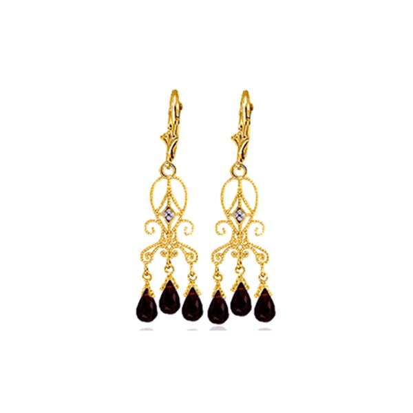 Genuine 6.31 ctw Garnet & Diamond Earrings 14KT Yellow Gold - REF-34M6T