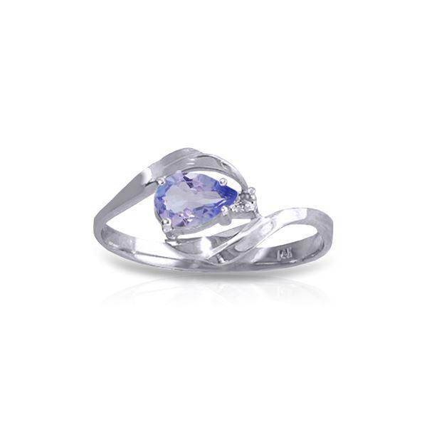 Genuine 0.51 ctw Tanzanite & Diamond Ring 14KT White Gold - REF-29R3P