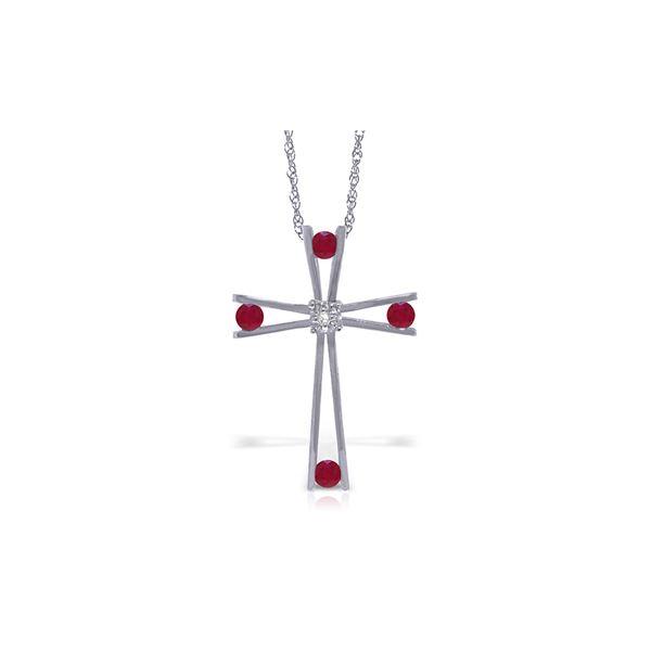 Genuine 0.53 ctw Ruby & Diamond Necklace 14KT White Gold - REF-79F4Z