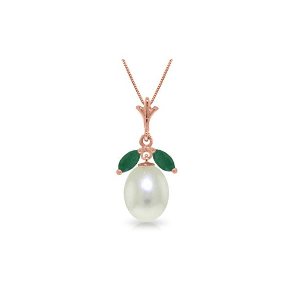 Genuine 4.5 ctw Pearl & Emerald Necklace 14KT Rose Gold - REF-25P8H