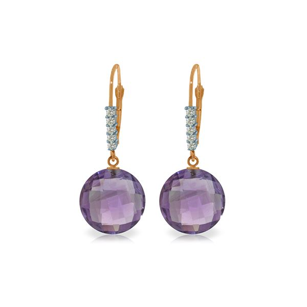 Genuine 10.75 ctw Amethyst & Diamond Earrings 14KT Rose Gold - REF-37N8R