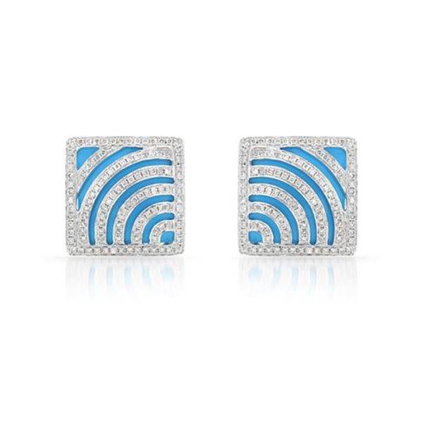 Natural 9.07 CTW Turquoise & Diamond Earrings 14K White Gold - REF-120K6R
