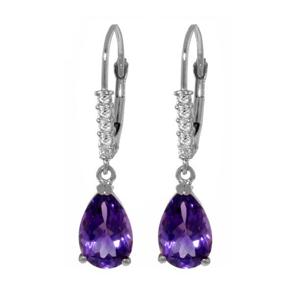 Genuine 3.15 ctw Amethyst & Diamond Earrings 14KT White Gold - REF-44T3A